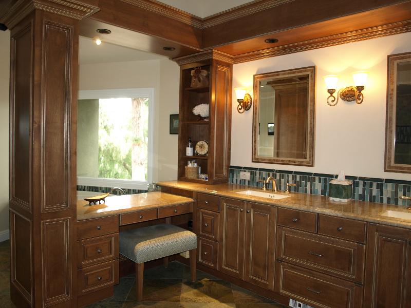 glazed cabinets-glass tile- marble floor