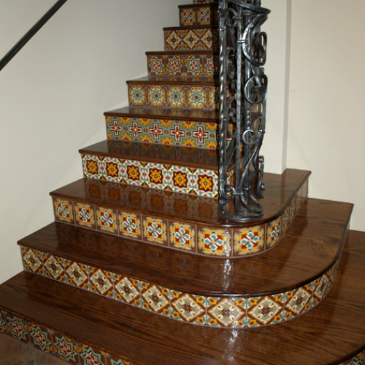 Wood stairs with tile risers - Stairs with tile and wood ...