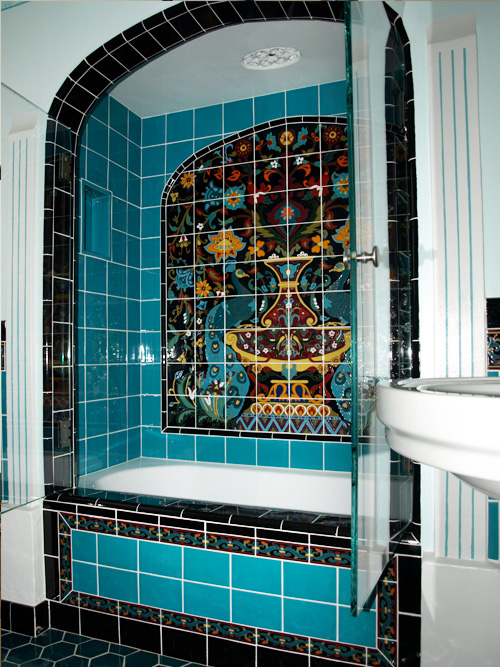 historic shower with custom tile