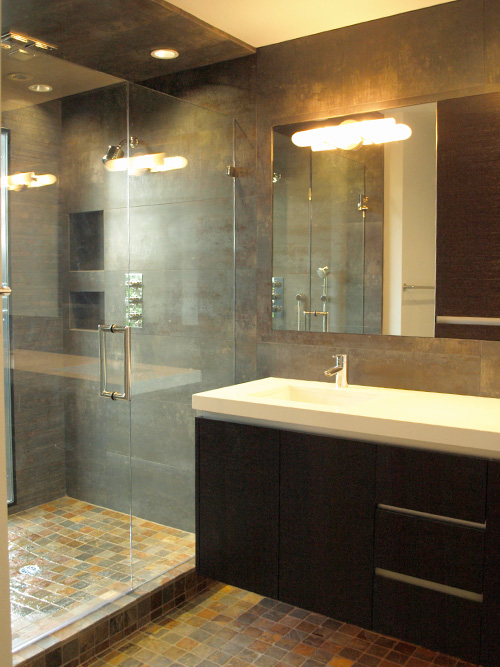 tiled shower modern bathroom