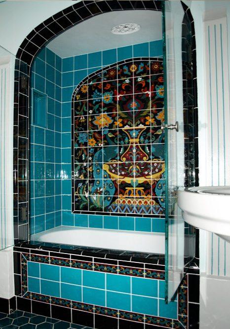 historic shower with custom tile
