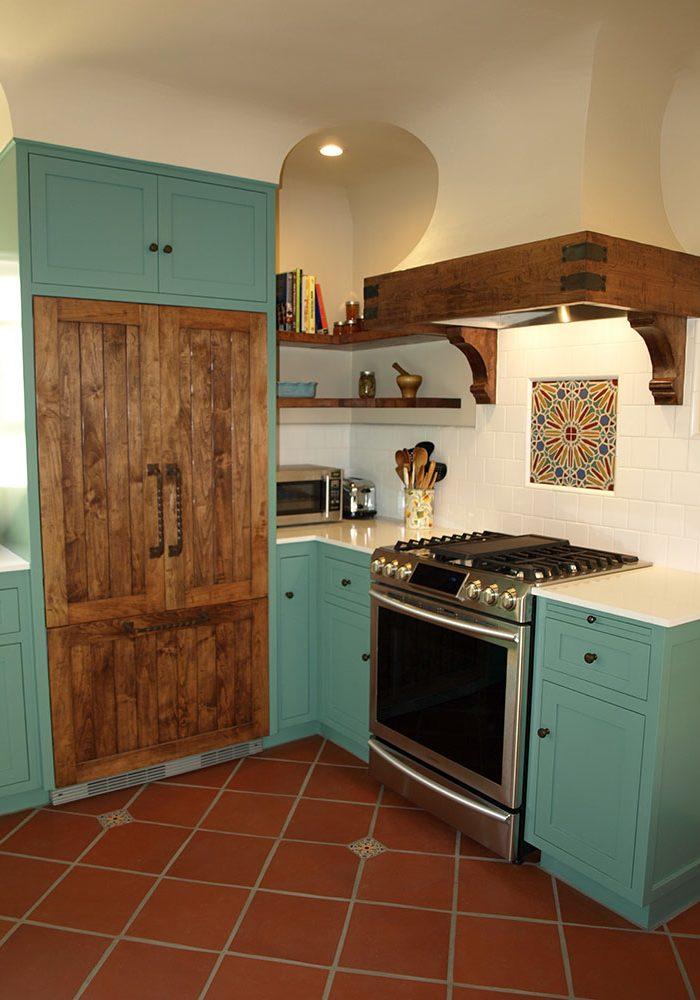 Kitchen remodel, terra cotta paver floor, custom cabinets, Omnicradt Enterprises, Inc.,
